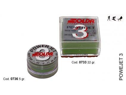 SOLDA POWER JET 3  gr 5 (Závodní aditivum (blok 5g) pro vlhkost vzduchu%: 10-60 - Teplota sněhu. -7°/-20°C - Teplota vzduchu -3°/-24°C)