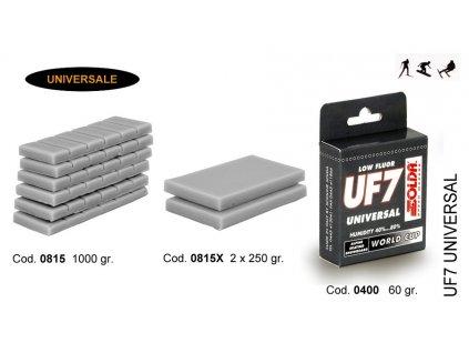 SOLDA UF7 FLUOR UNIVERSAL gr 1.000 (středně fluorizovaný vosk ideální pro trénink (kostičky 1 kg) pro vlhkost vzduchu%: 40-80 - Teplota sněhu. 0°/-10°C - Teplota vzduchu +4°/-14°C)