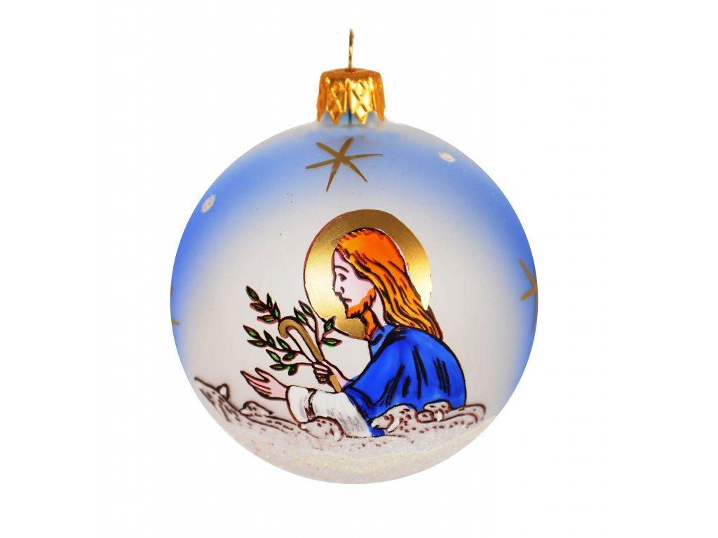 Skleněná koule, dekor: Ježíš s ovečkami (Balení 1 ks, Barva bílá, 104, Velikost 8 cm)