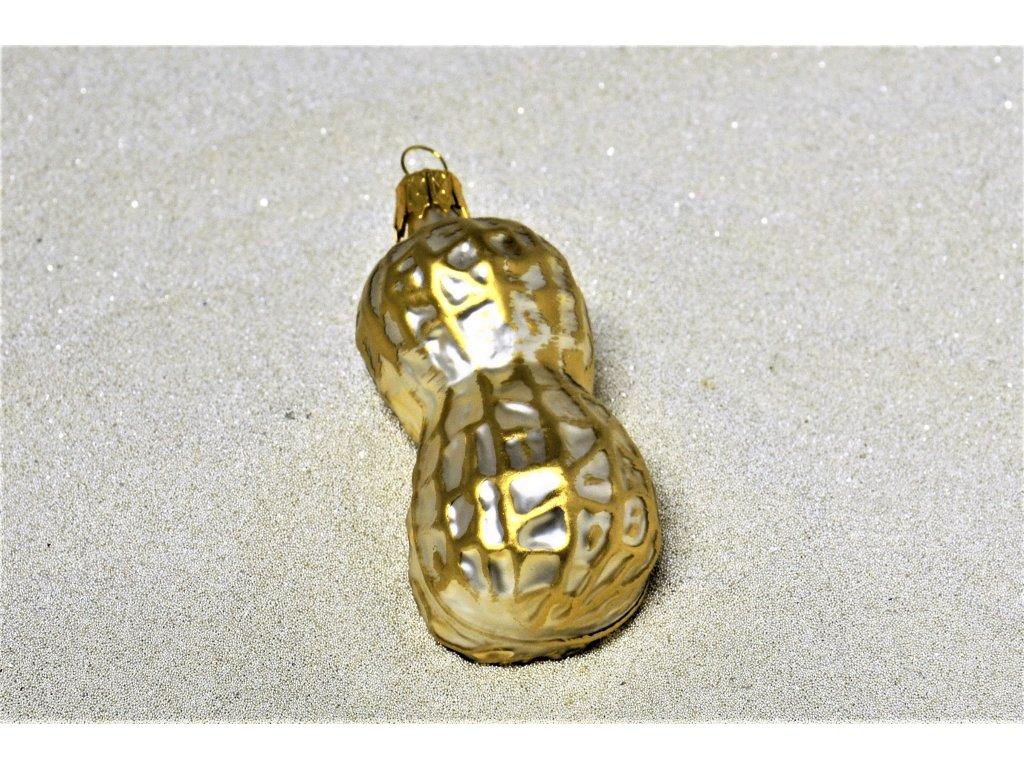 Skleněná ozdoba - burský ořech (Balení 5 ks, Barva zlatá)