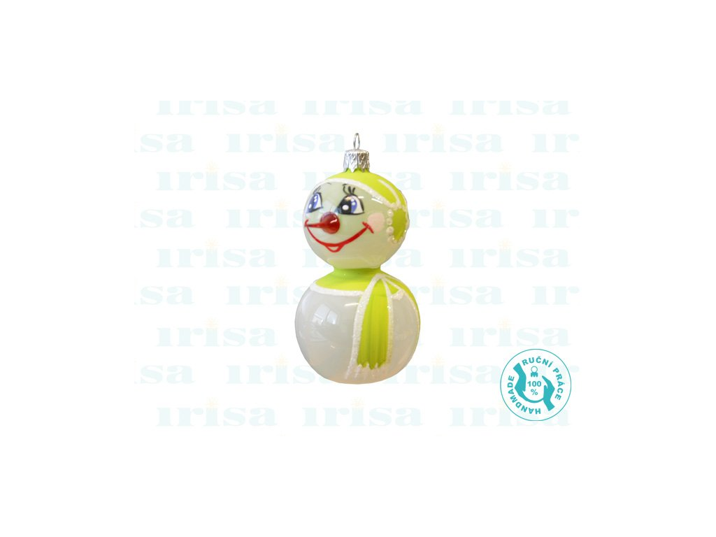 Skleněná vánoční ozdoba, sněhulák, 1 ks a (Balení 1 ks, Barva zelená)