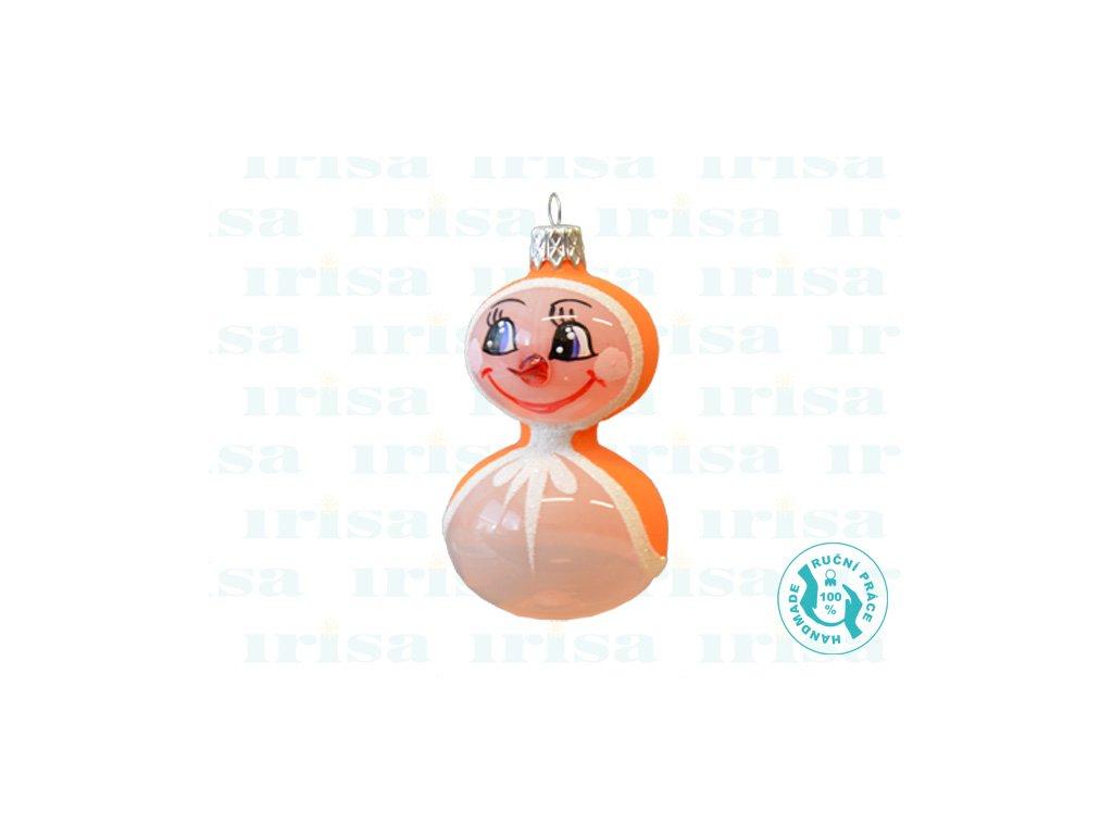 Skleněná vánoční ozdoba, sněhulák, 1 ks c (Balení 1 ks, Barva oranžová)