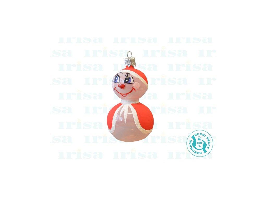 Skleněná vánoční ozdoba, sněhulák, 1 ks d (Balení 1 ks, Barva červená)