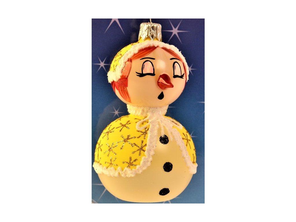 Skleněná vánoční ozdoba, sněhulák, 1 ks (Balení 1 ks)