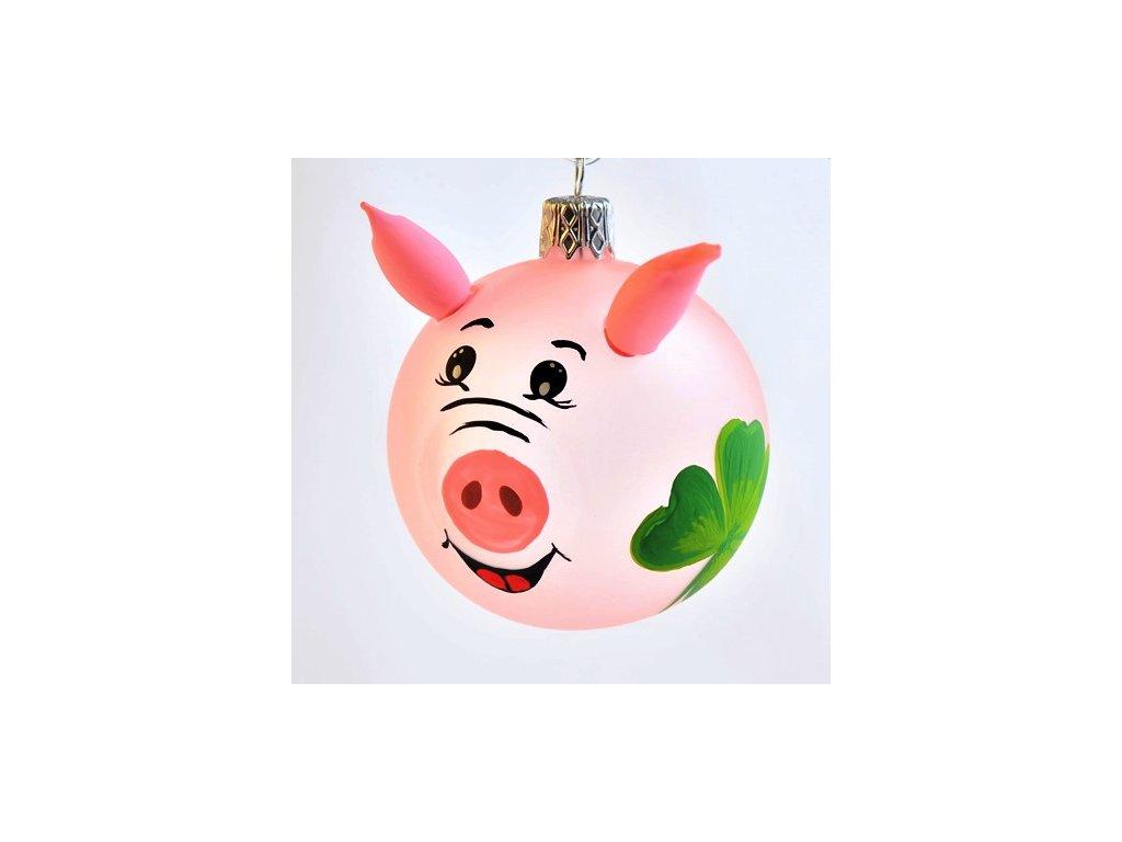 Skleněná vánoční ozdoba, prasátko,štěstí 1 ks (Balení 1 ks, Barva růžová)