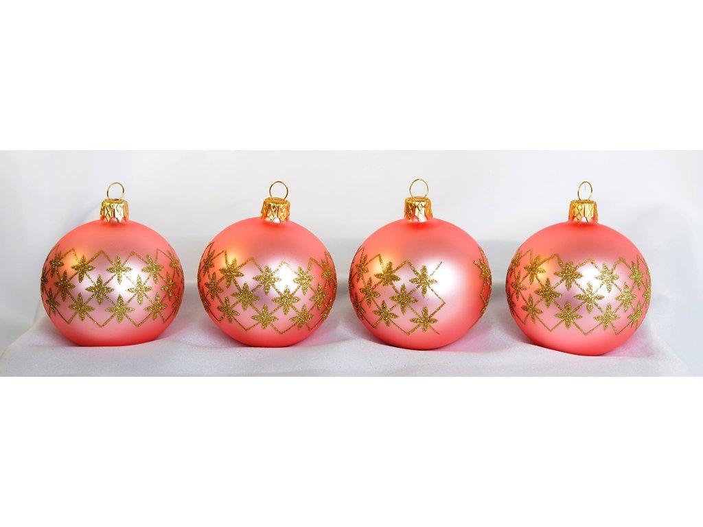 Vánoční ozdoby koule Mřížka 4 kusy (Balení 4 ks, Barva růžová, Dekor mřížka)