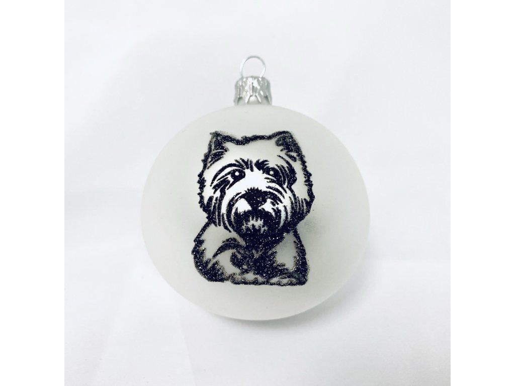 Skleněná vánoční ozdoba bílá s textem na přání, PES , domácí mazlíčci, 1 ks (Balení 1ks)