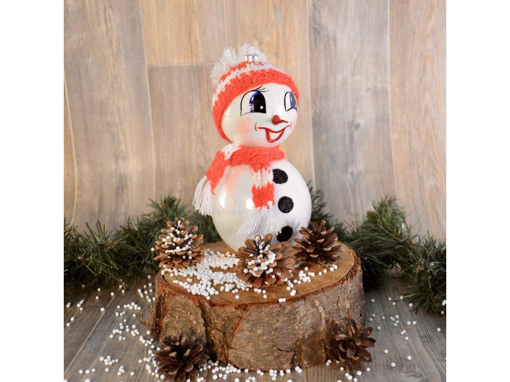 Usměvavý sněhulák (Balení 1ks, Barva červená, Velikost 18 cm)