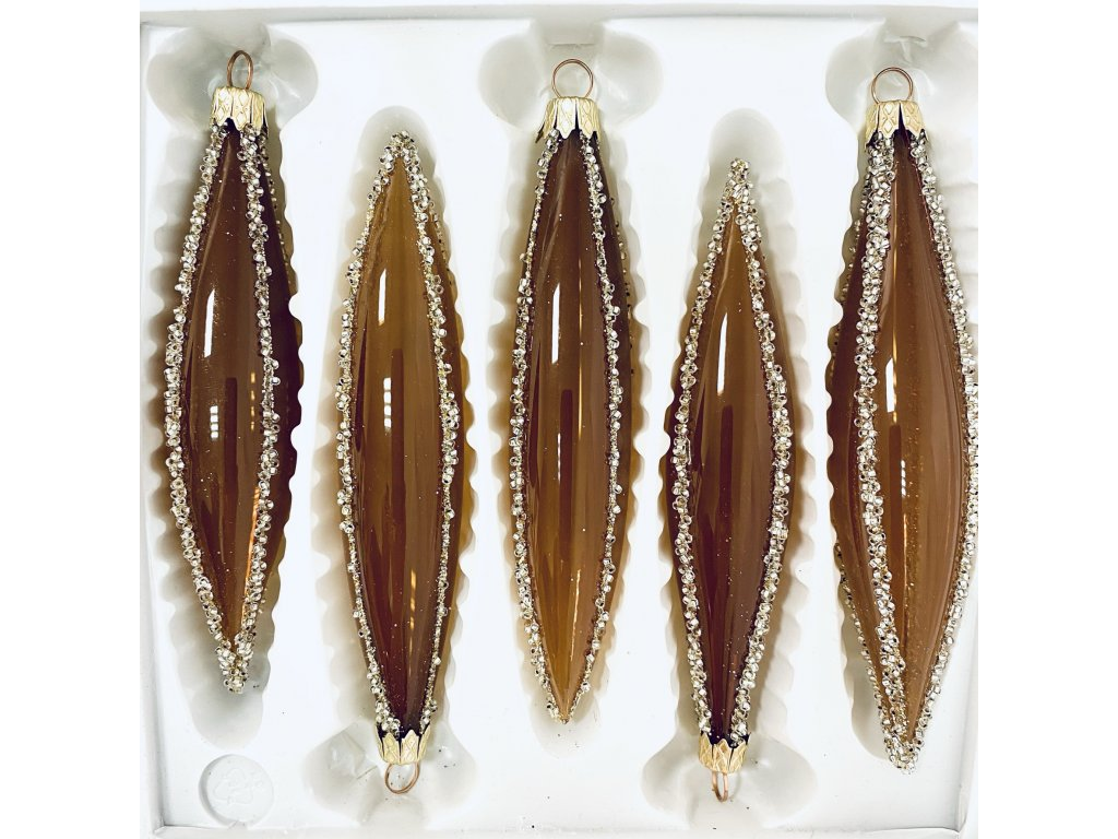 Skleněné ozdoby Raketa  karamelová (Balení 5ks, Barva karamelová, Velikost 14x3 cm)