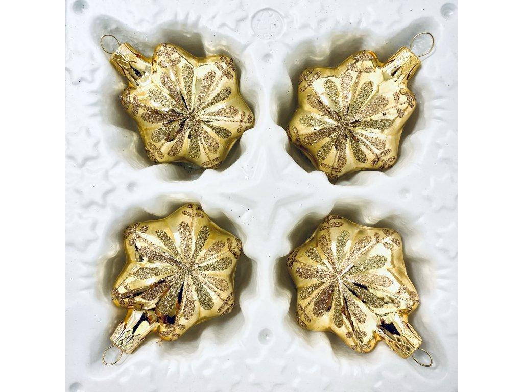 Skleněná ozdoba Zlatá hvězda (Balení 4ks, Barva zlatá, Velikost 5 cm)