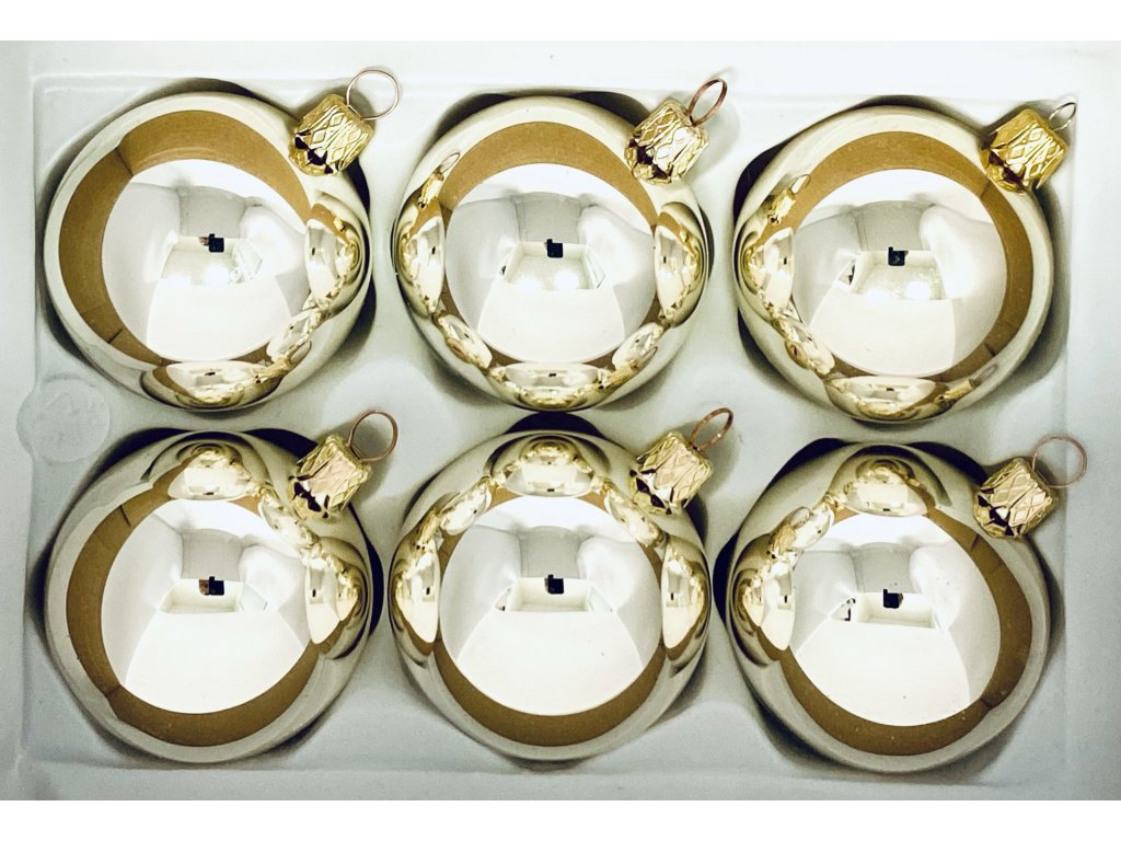 Skleněná ozdoba Zlaté kuličky (Balení 6ks, Barva zlatá, Velikost 6 cm)