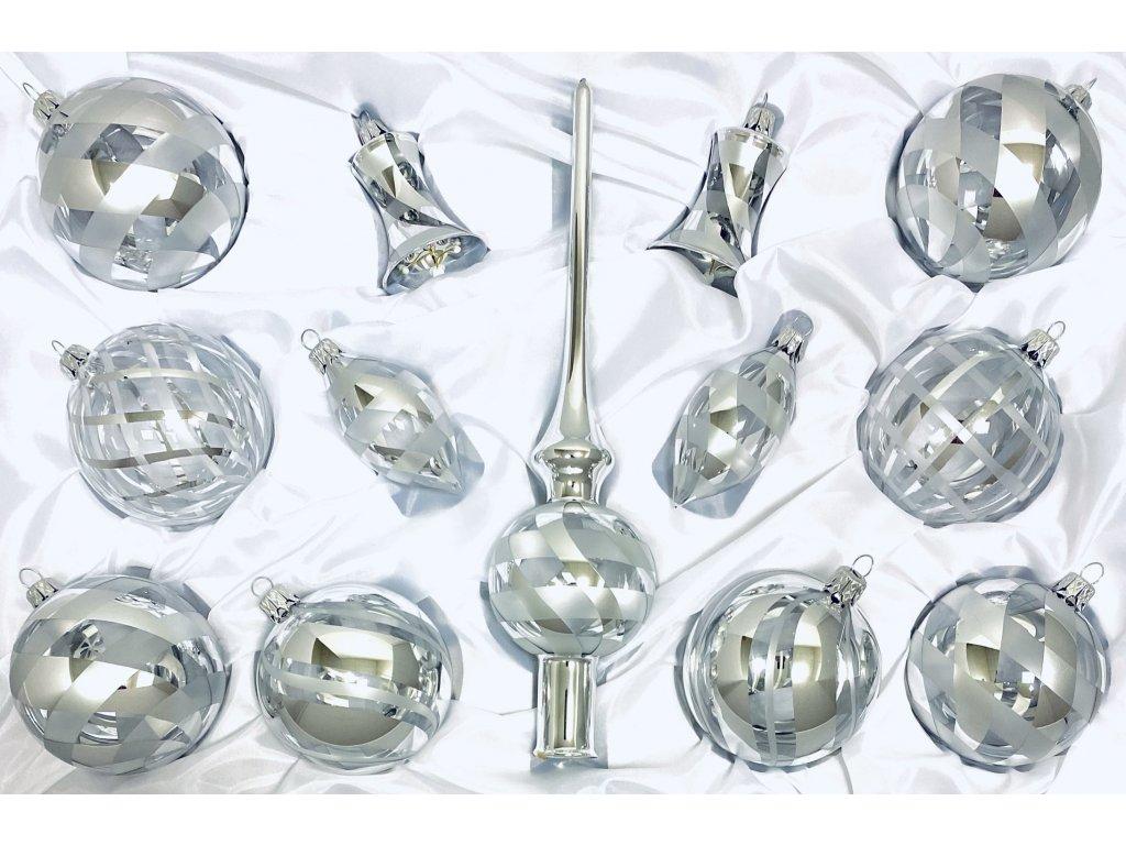 Skleněná ozdoba VERONA (Balení 12ks, Barva stříbrná, Velikost 8 cm)