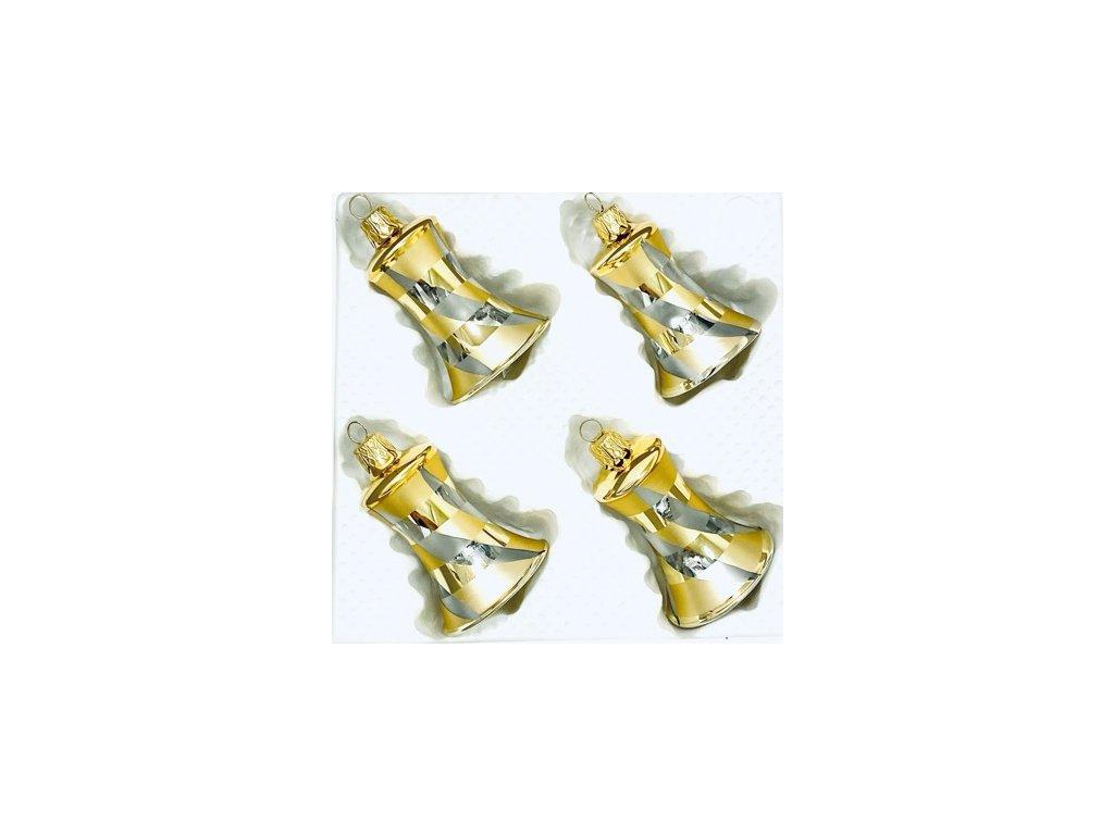 Skleněná ozdoba zvonek FLORENCIE (Balení 4ks, Barva zlatá, Velikost 5,5 cm)