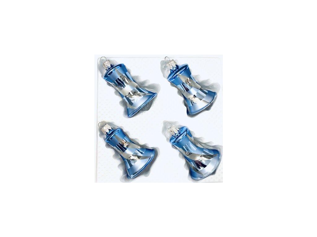Skleněná ozdoba zvonek BENÁTKY (Balení 4ks, Barva modrá, Velikost 5,5 cm)