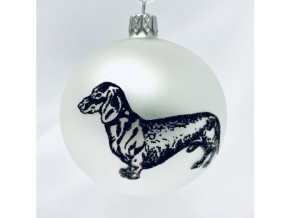 Skleněná vánoční ozdoba s textem na přání, de: jezevčík, domácí mazlíčci, 1 ks