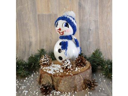Sněhulák s čepicí (Balení 1ks, Barva modrá, Velikost 18 cm)