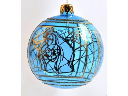 Skleněná koule, dekor: vitráž Ježíš (Balení 1 ks, Barva modrá, Velikost 8 cm)