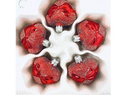 Skleněná ozdoba Srdíčko s mašlí (Balení 5ks, Barva červená, Velikost 5 cm)