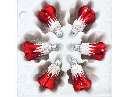 Skleněná ozdoba Zvoneček s krápníkem (Balení 6ks, Barva červená, Velikost 4 cm)
