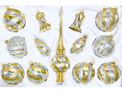 Skleněná ozdoba FLORENCIE (Balení 12ks, Barva zlatá, Velikost 8 cm)