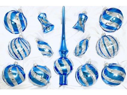 Skleněná ozdoba BENÁTKY (Balení 12ks, Barva modrá, Velikost 8 cm)
