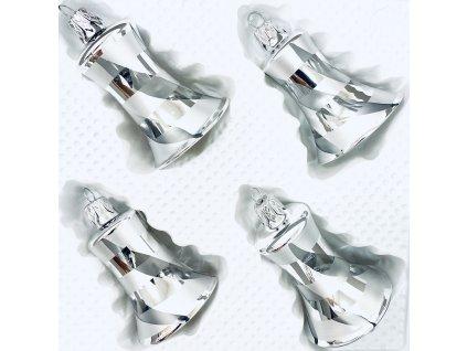 Skleněná ozdoba zvonek VERONA (Balení 4ks, Barva stříbrná, Velikost 5,5 cm)