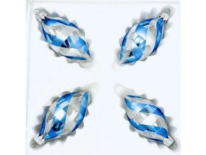 Skleněná ozdoba ovál BENÁTKY (Balení 4ks, Barva modrá, Velikost 8x4 cm)