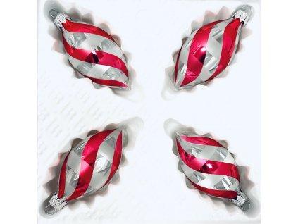 Skleněná ozdoba ovál JANOV (Balení 4ks, Barva červená, Velikost 8x4 cm)