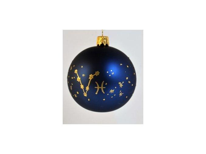 Skleněná koule modrá, dekor: znamení ryb