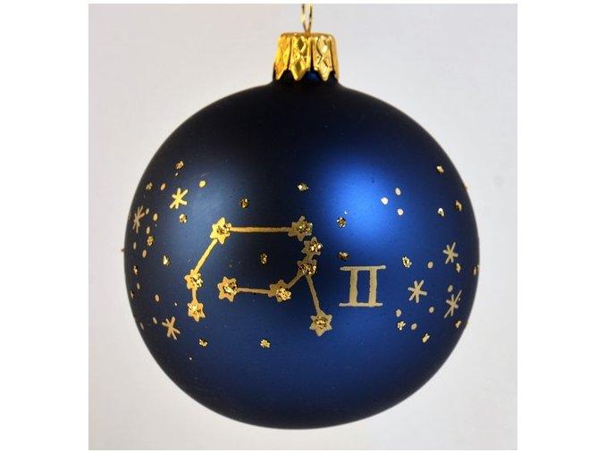 Skleněná koule modrá, dekor: znamení blíženců