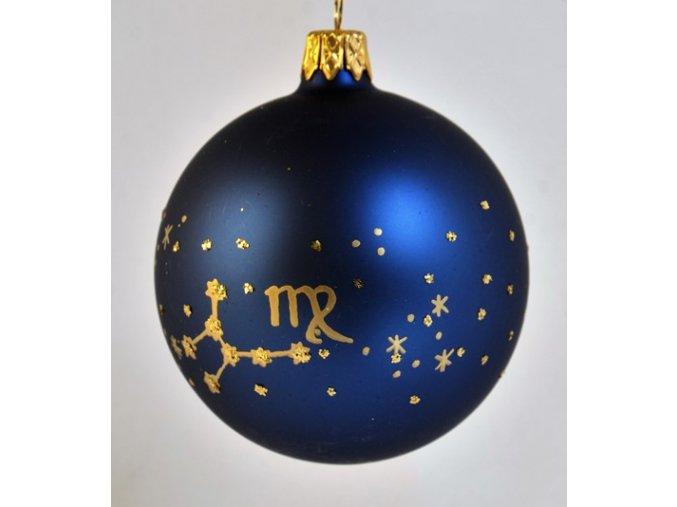 Skleněná koule modrá, dekor: znamení panny