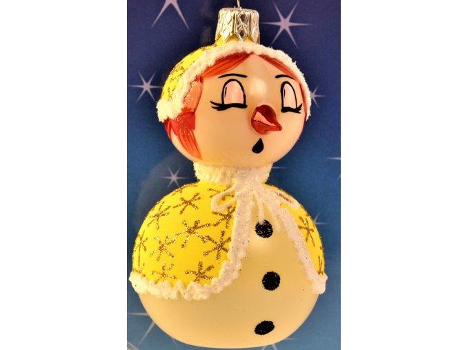 Skleněná vánoční ozdoba, sněhulák, 1 ks