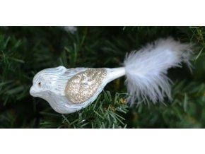 Skleněná vánoční ozdoba,PTÁČEK  na skřipci, 1 ks