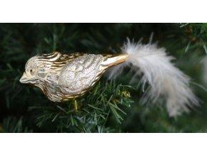 Skleněná vánoční ozdoba,PTÁČEK  na skřipci, 1 ks zlatý (Balení 1 ks)