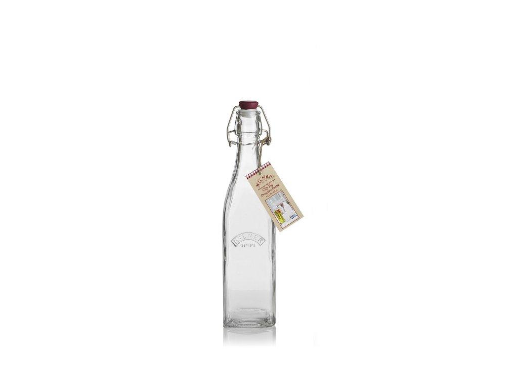 skleněná láhev hranatá kilner s uzávěrem 0,5 l