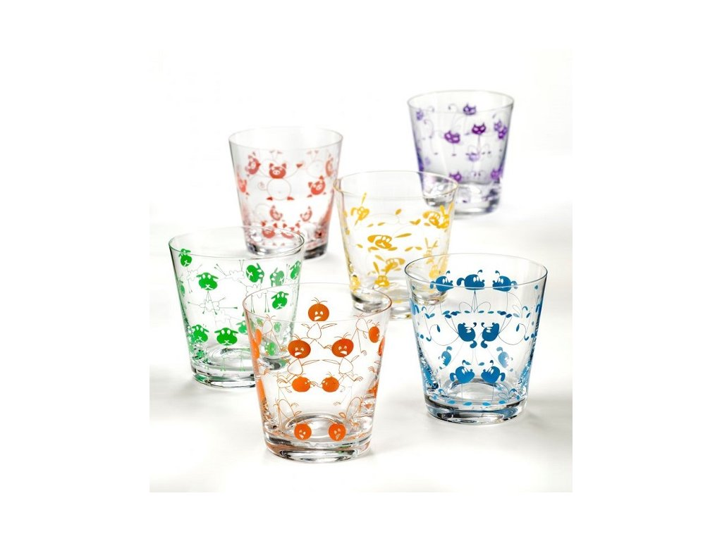 Crystalex Skleničky na vodu JIVE Animals 330 ml, 6 ks