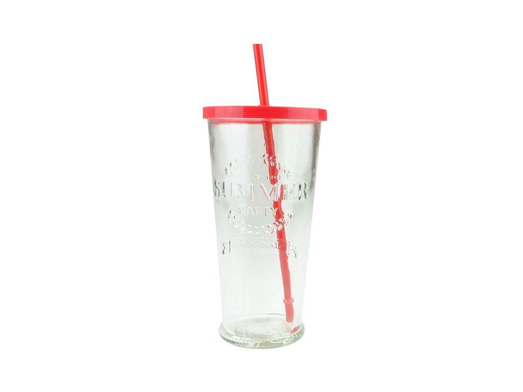 Summer fun sklenice s brčkem 0,7 l červená
