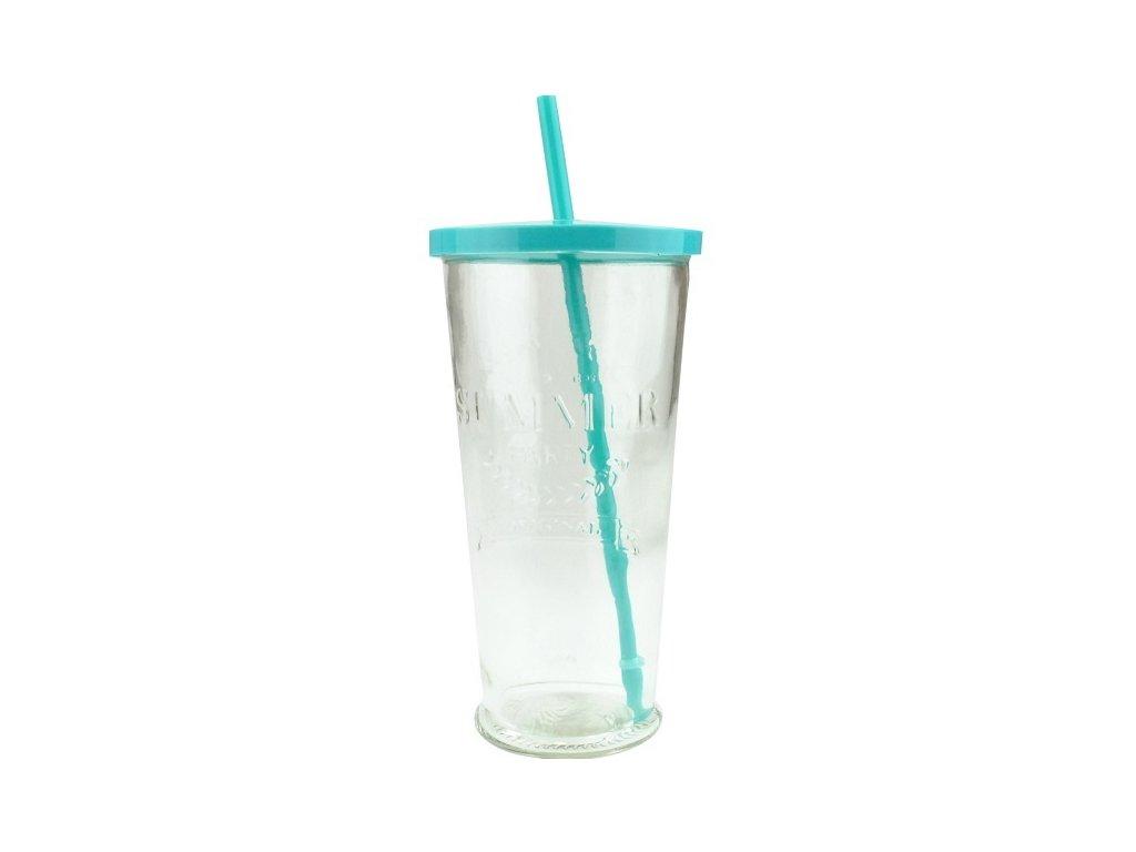 Summer fun sklenice s brčkem 0,7 l tyrkysová