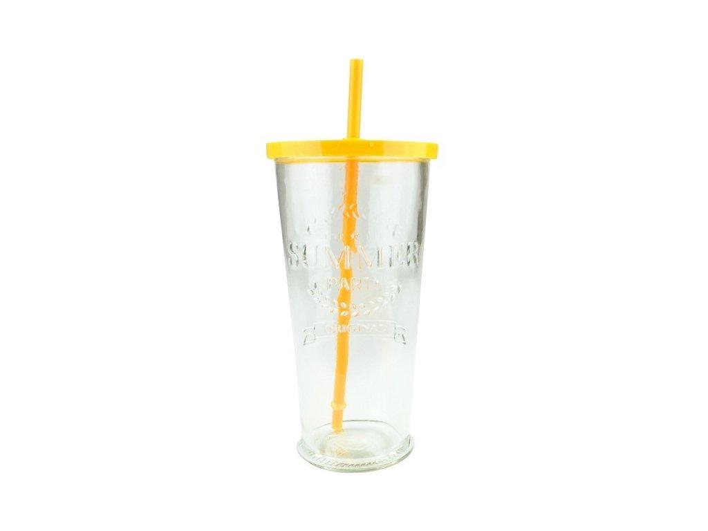 Summer fun sklenice s brčkem 0,7 l žlutá