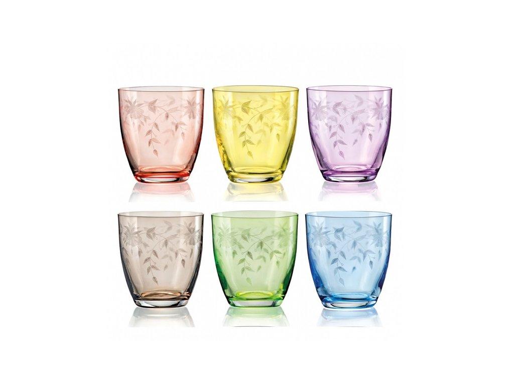 Crystalex barevné sklenice na pití Florale 300 ml