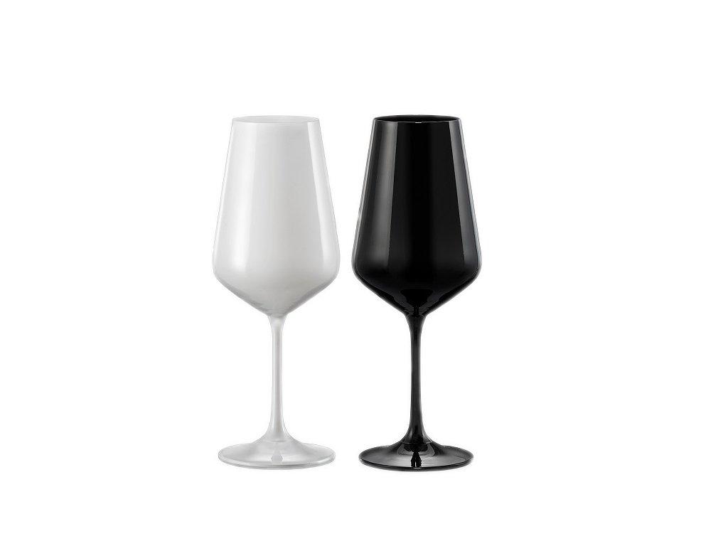 set 2 černobílých sklenic na víno Black&White Crystalex