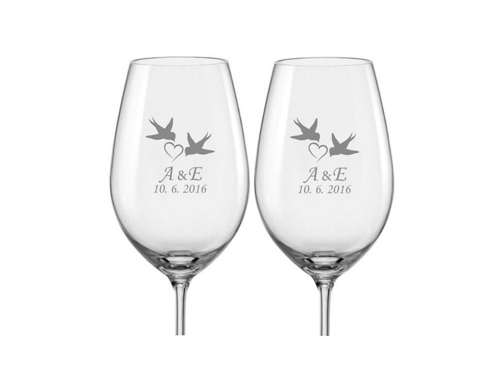Svatební skleničky na víno Vlaštovky, 2ks