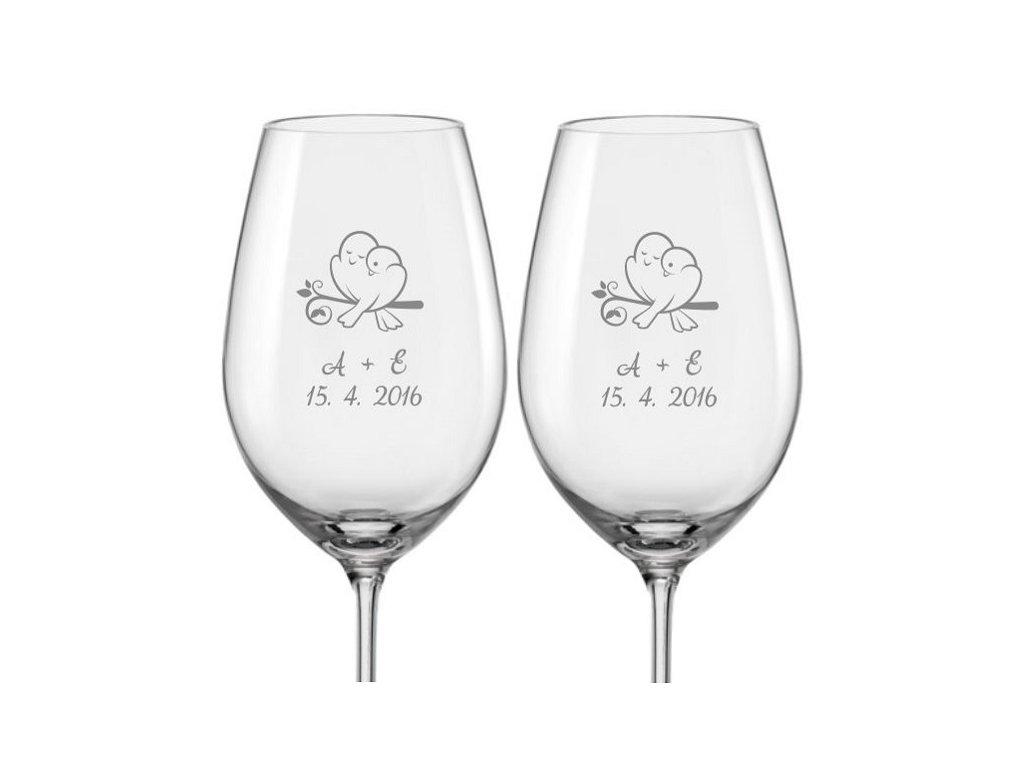 Svatební skleničky na víno Zamilované hrdličky, 2ks