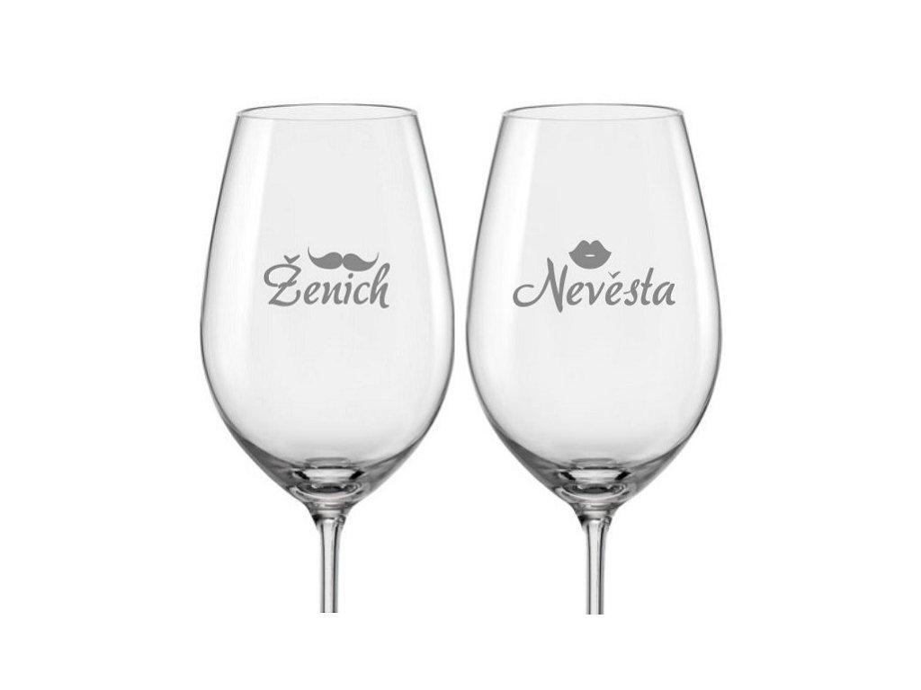 Svatební skleničky na víno Ženich a Nevěsta s datem svatby na dýnku, 2ks