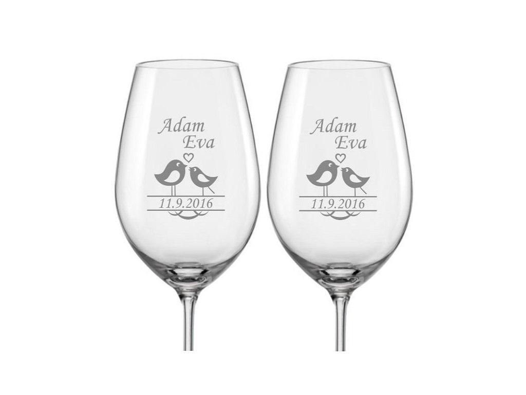Svatební skleničky na víno Ptáčci, 2ks