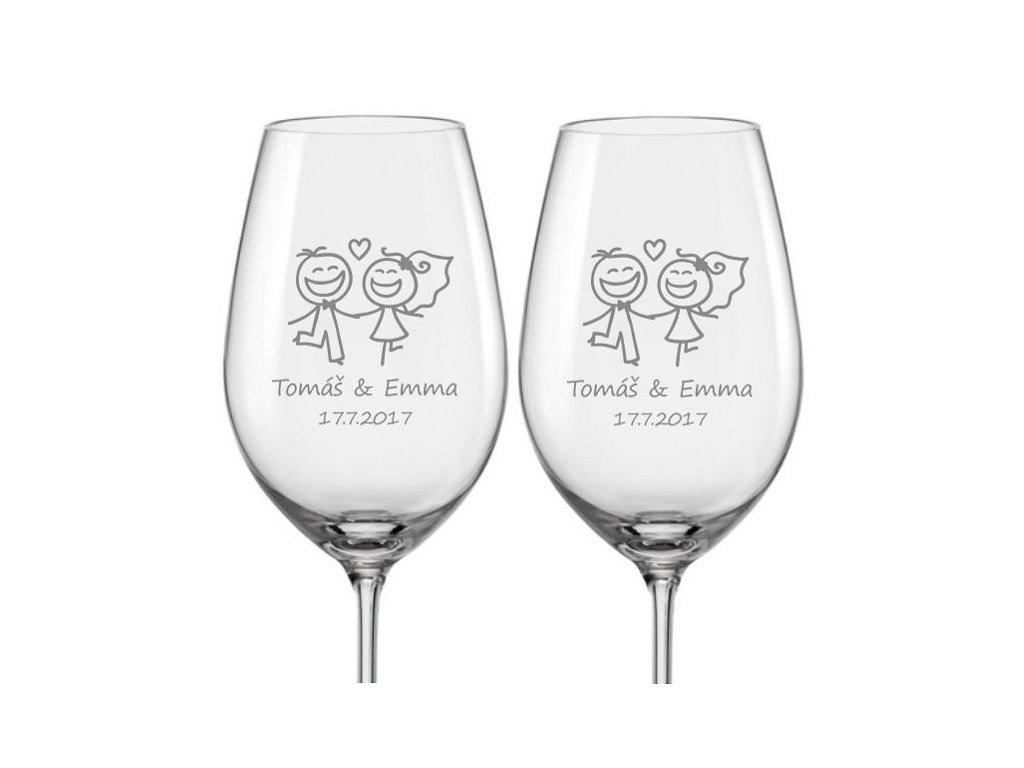 Svatební skleničky na víno Veselí novomanželé, 2ks