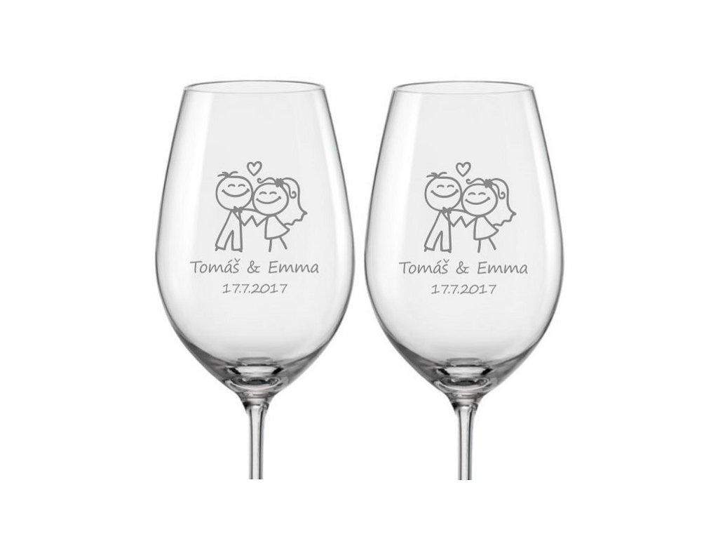 Svatební skleničky na víno Šťastní novomanželé, 2ks