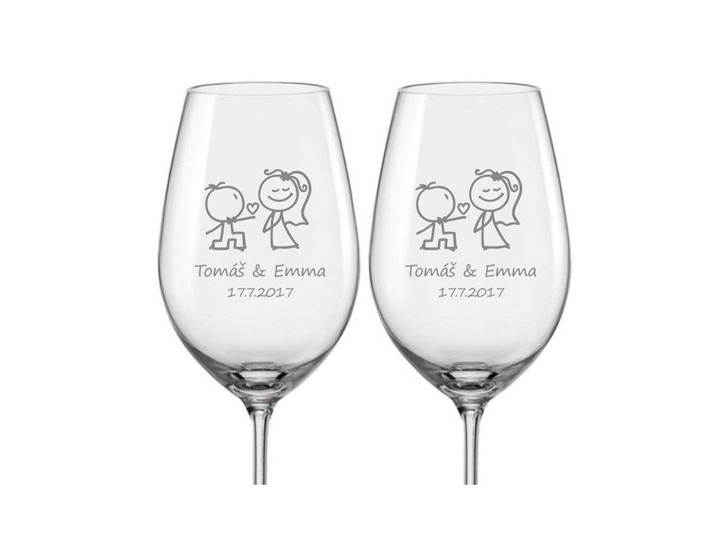 Svatební skleničky na víno Zamilovaní novomanželé, 2ks