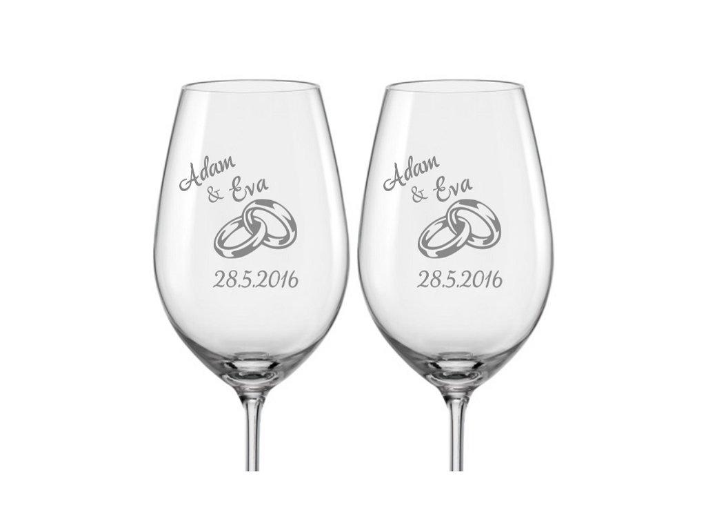 Svatební skleničky na víno Prstýnky, 2ks