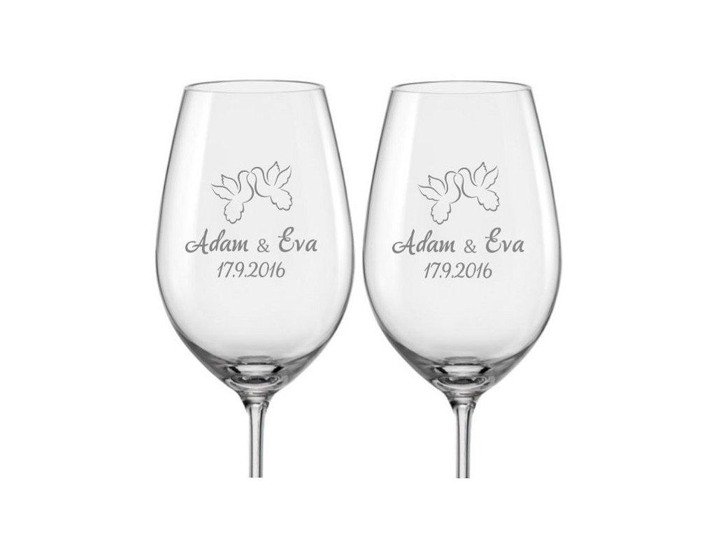 Svatební skleničky na víno Hrdličky, 2ks